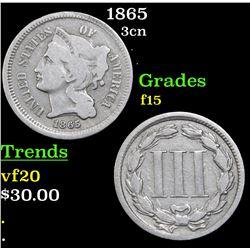 1865 Three Cent Copper Nickel 3cn Grades f+