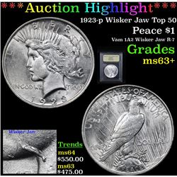 ***Auction Highlight*** 1923-p Wisker Jaw Top 50 Peace Dollar $1 Graded Select+ Unc By USCG (fc)