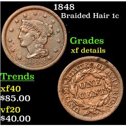 1848 Braided Hair Large Cent 1c Grades xf details