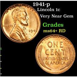 1941-p Lincoln Cent 1c Grades Choice+ Unc RD