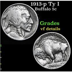 1913-p Ty I Buffalo Nickel 5c Grades vf details