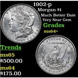1902-p Morgan Dollar $1 Grades Choice+ Unc
