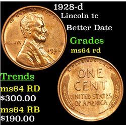 1928-d Lincoln Cent 1c Grades Choice Unc RD