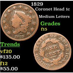 1829 Coronet Head Large Cent 1c Grades f+
