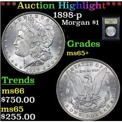 ***Auction Highlight*** 1898-p Morgan Dollar $1 Graded GEM+ Unc By USCG (fc)