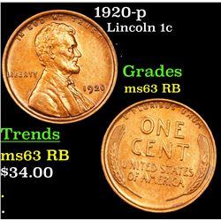 1920-p Lincoln Cent 1c Grades Select Unc RB