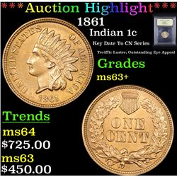 ***Auction Highlight*** 1861 Indian Cent 1c Graded Select+ Unc By USCG (fc)