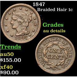 1847 Braided Hair Large Cent 1c Grades AU Details