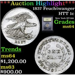 ***Auction Highlight*** 1837 Feuchtwanger Hard Times Token 1c Graded Choice Unc By USCG (fc)