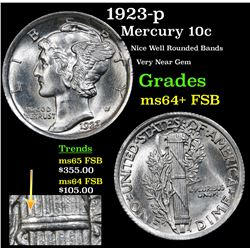 1923-p Mercury Dime 10c Grades Choice Unc+ FSB