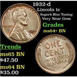1932-d Lincoln Cent 1c Grades Choice+ Unc BN