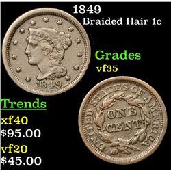 1849 Braided Hair Large Cent 1c Grades vf++