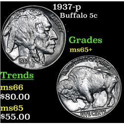 1937-p Buffalo Nickel 5c Grades GEM+ Unc