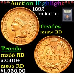 ***Auction Highlight*** 1892 Indian Cent 1c Graded Gem+ Unc RD By USCG (fc)