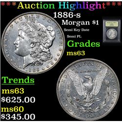 ***Auction Highlight*** 1886-s Morgan Dollar $1 Graded Select Unc By USCG (fc)