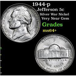 1944-p Jefferson Nickel 5c Grades Choice+ Unc