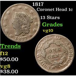 1817 Coronet Head Large Cent 1c Grades vg+