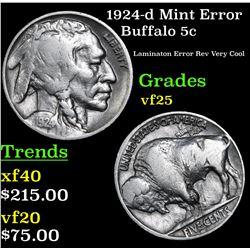 1924-d Mint Error Buffalo Nickel 5c Grades vf+