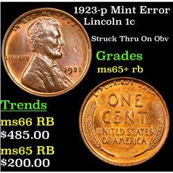 1923-p Mint Error Lincoln Cent 1c Grades Gem+ Unc RB
