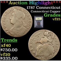 ***Auction Highlight*** 1787 Connecticut  Connecticut Copper 1c Graded vf+ By USCG (fc)