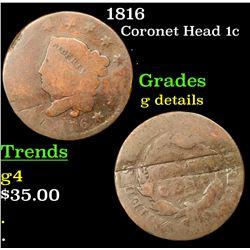 1816 Coronet Head Large Cent 1c Grades g details