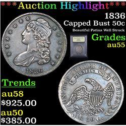 ***Auction Highlight*** 1836 Capped Bust Half Dollar 50c Graded Choice AU By USCG (fc)