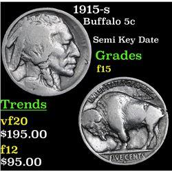 1915-s Buffalo Nickel 5c Grades f+