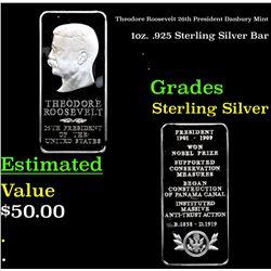 Theodore Roosevelt 26th President Danbury Mint 1oz. .925 Sterling Silver Bar Grades