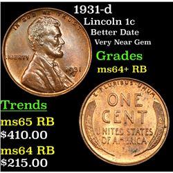 1931-d Lincoln Cent 1c Grades Choice+ Unc RB