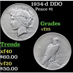 1934-d DDO Peace Dollar $1 Grades vf+