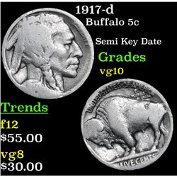 1917-d Buffalo Nickel 5c Grades vg+