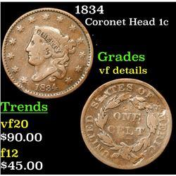 1834 Coronet Head Large Cent 1c Grades vf details