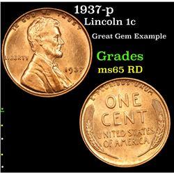1937-p Lincoln Cent 1c Grades GEM Unc RD
