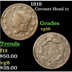 1818 Coronet Head Large Cent 1c Grades vg+