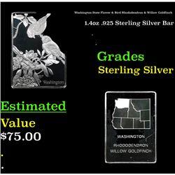 Washington State Flower & Bird Rhododendron & Willow Goldfinch 1.4oz .925 Sterling Silver Bar Grades