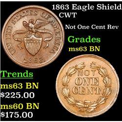 1863 Eagle Shield Civil War Token 1c Grades Select Unc BN