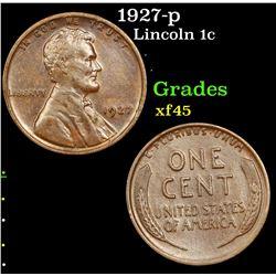1927-p Lincoln Cent 1c Grades xf+