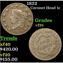 1822 Coronet Head Large Cent 1c Grades vf+