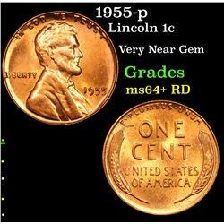 1955-p Lincoln Cent 1c Grades Choice+ Unc RD