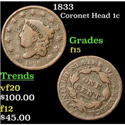 1833 Coronet Head Large Cent 1c Grades f+