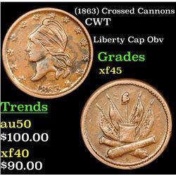 (1863) Crossed Cannons Civil War Token 1c Grades xf+