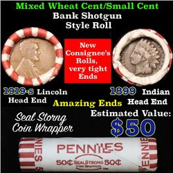 Mixed small cents 1c orig shotgun roll,1919-s Wheat Cent,1899 Indian Cent other end
