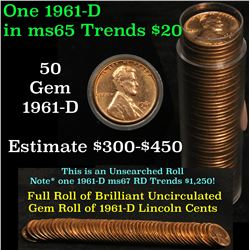 Full roll of 1961-d Lincoln Cents 1c Uncirculated Condition . .