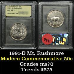 1991-d Mt. Rushmore . . Modern Commem Half Dollar 50c Grades ms70, Perfection