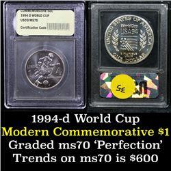 1994-d World Cup . . Modern Commem Half Dollar 50c Grades ms70, Perfection