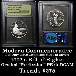 1993-s Bill of Rights . . Proof Commem Half Dollar 50c Grades GEM++ Proof Deep Cameo