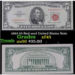 1963 $5 Red seal United States Note . . Grades xf+