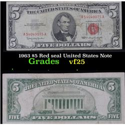 1963 $5 Red seal United States Note . . Grades vf+