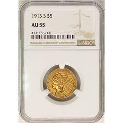 1913-S $5 Indian Head Half Eagle Gold Coin NGC AU55