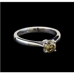 14KT White Gold 0.71 ctw Round Cut Fancy Brown Diamond Solitaire Ring